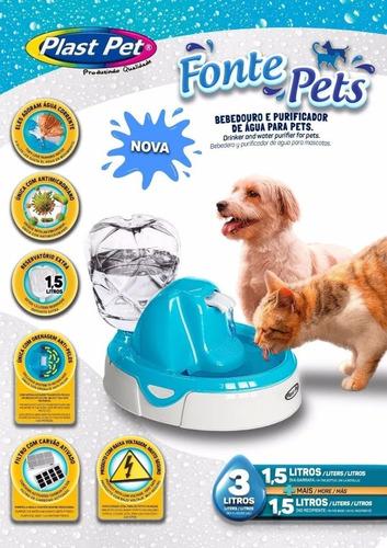 bebedouro felino fonte purificador agua plas pet  gatos cães