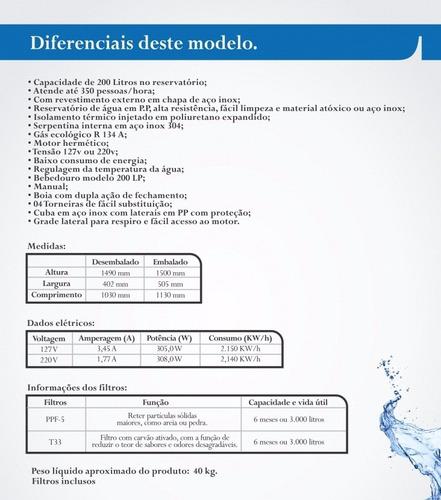 bebedouro refrigerador industrial 200 litros filtro canovas