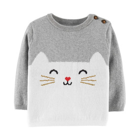 67b71945ab145 Carters Cat Sweater Niña Bebe Ropa Americana Nuevo Sueter Bb