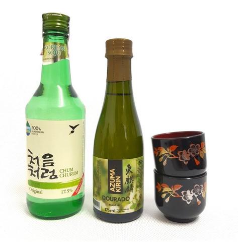 bebida alcoólica soju coreano + sake japonês + 2copo guinomi