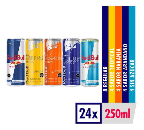 bebida energetica red bull mix de sabores 24 latas de 250ml