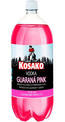 bebida vodka guaraná pink 2lts kosako