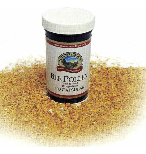 bee pollen frasco de 100 cápsulas de 450 mg (polen de abeja)