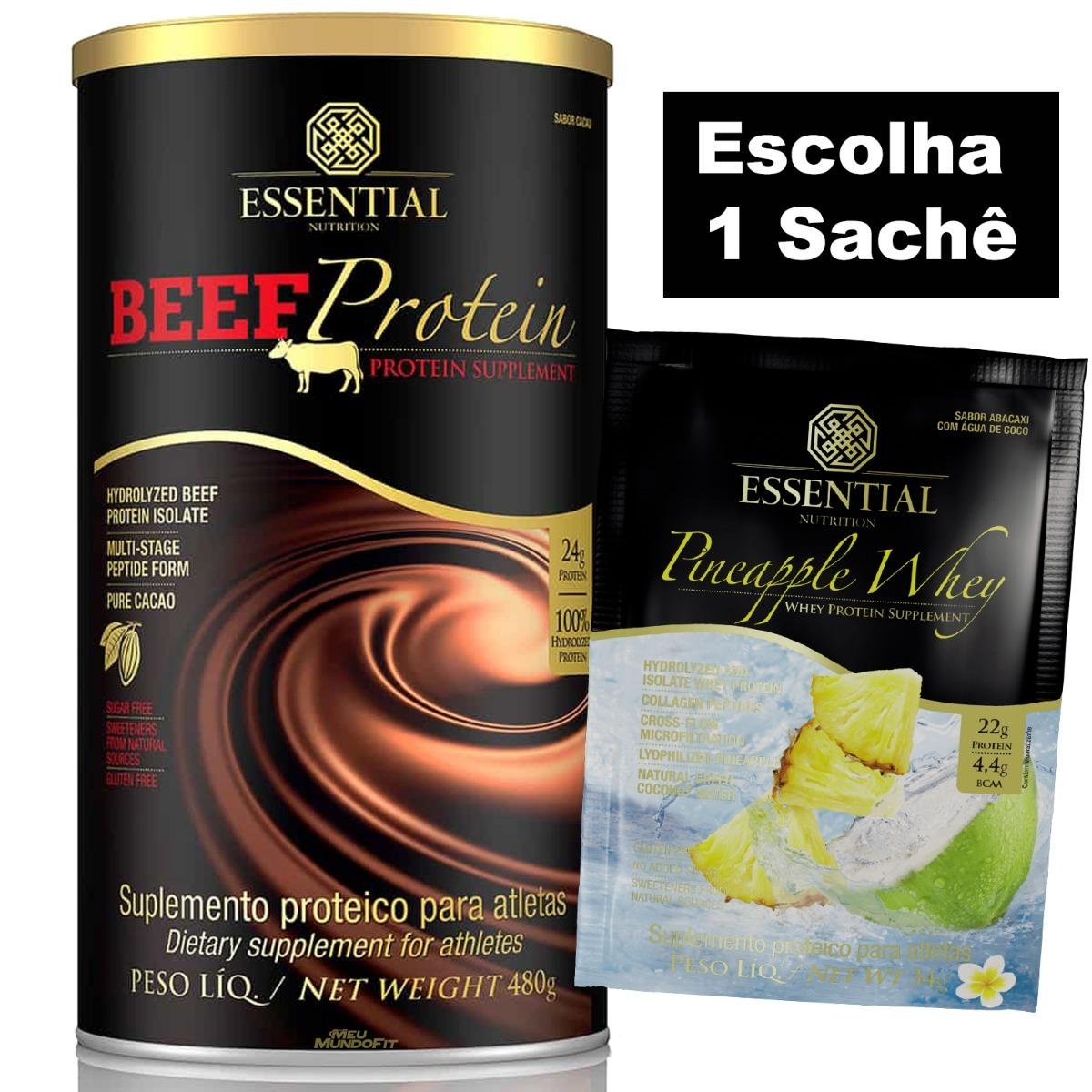 b93b75bbd beef protein (480g) + brinde essential nutrition. Carregando zoom.