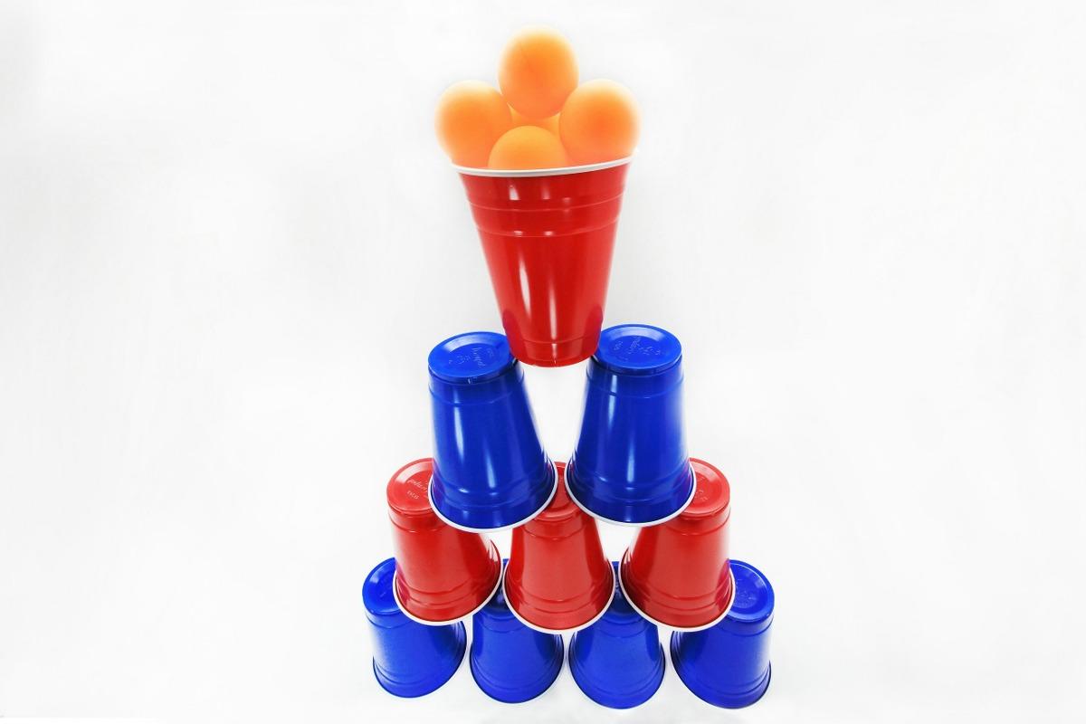 Beer pong kit vasos de colores con pelotas para fiesta - Vasos de colores ...