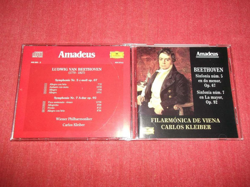 beethoven - sinfonias 5 y 7 amadeus cd imp ed 1996 mdisk