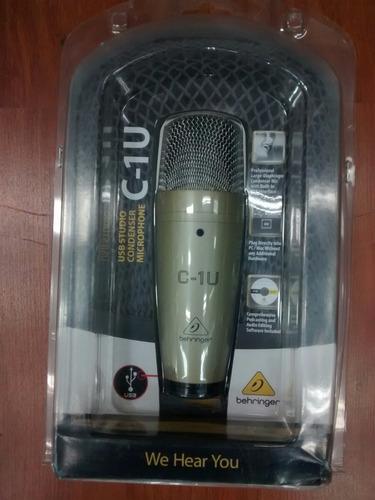 behringer c1u micrófono condensador usb directo y laptop