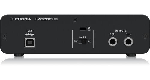 behringer u-phoria umc202 hd interfaz placa de audio usb 2x2