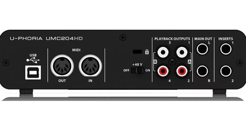 behringer umc204 hd interface audio usb pc u-phoria umc204hd