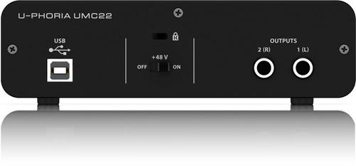 behringer umc22 interface de audio usb 2x2 envio gratis