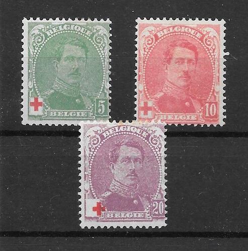belgica 1914 cruz roja rey alberto 3 valores nuevos $$