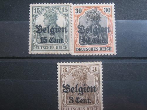 bélgica ocupacion alemana tres sellos primera guerra mundial