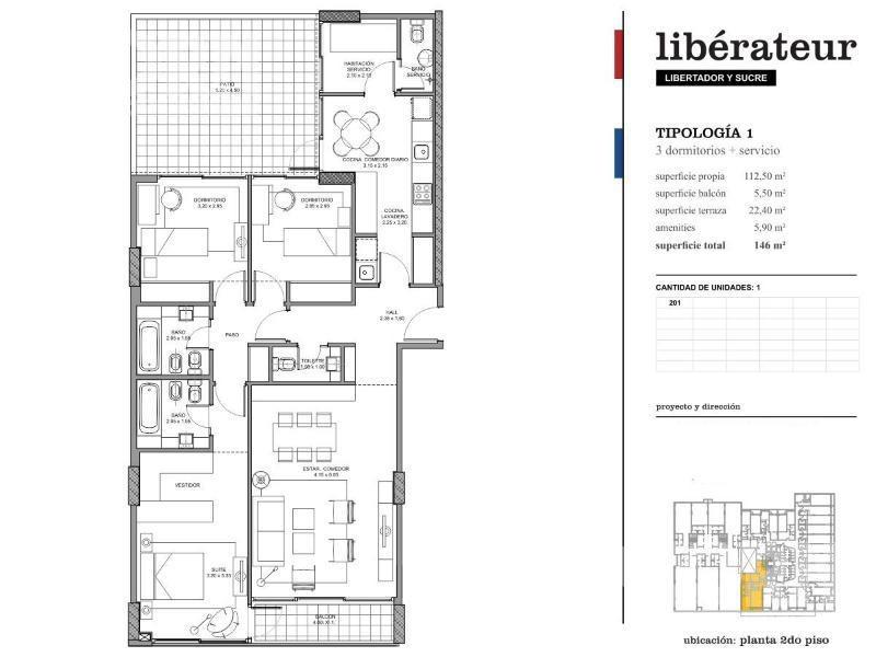 belgrano - departamento de 4 ambientes c/dependencia, patio y cochera - a estrenar