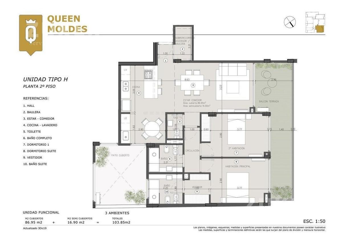 belgrano edificio queen moldes  para invertir, para vivir.