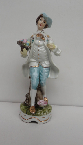 belíssima e antiga estatueta em porcelana inglesa