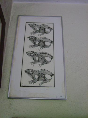 belíssima litografia de maty vitart - sapos