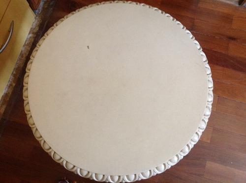 belíssima mesa redonda  para apoio madeira  estilo d. joão