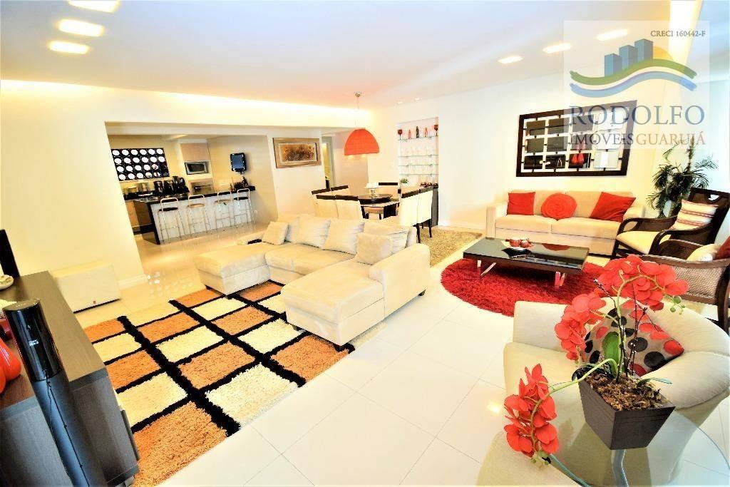belíssimo!! guarujá pitangueiras, calçadão, 4 dts, 190 mts úteis, mobiliado e finamente decorado. - ap0152