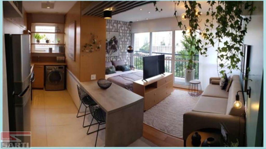 belissìmo apartamento studio com terraço, uma vaga coberta na garagem, piscina no terraço com vista. - st16549