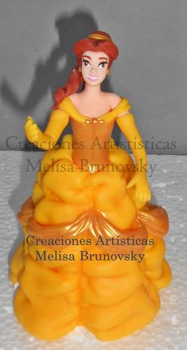 bella 17cm, la bella y la bestia disney princes adorno torta