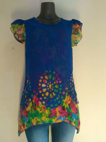 bella blusa dama chifon importada con flores talla s