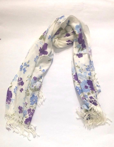 bella bufanda chal pashmina flores le sak morado