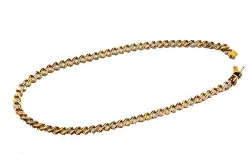 bella cadena 3 oros 14k gruesa medida 52.5 cm peso 56.8 gr