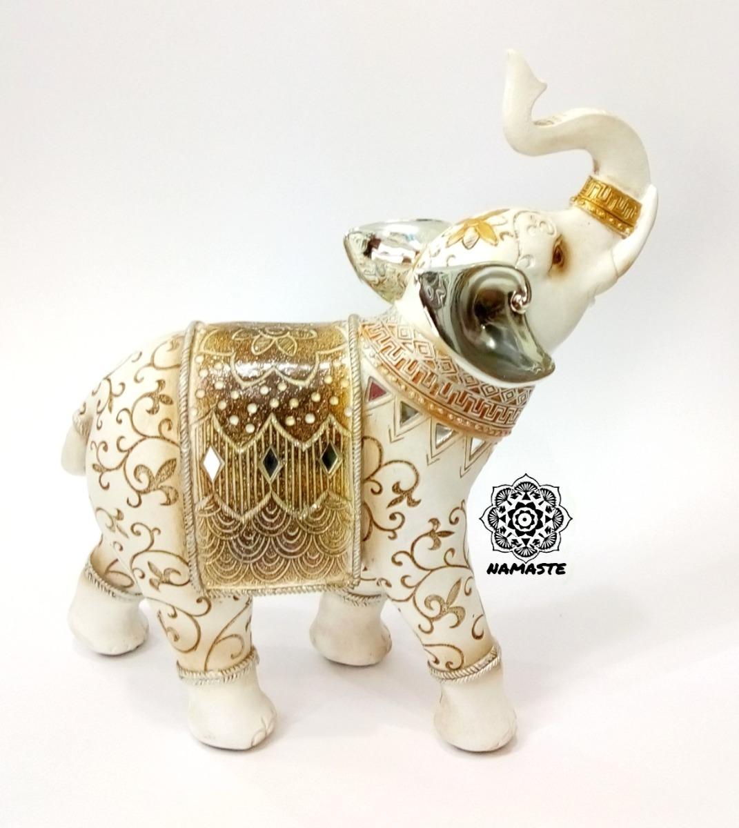 Bella figura elefante blanco con flor de liz feng shui for Elefantes decoracion feng shui