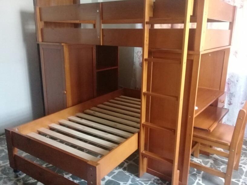 Bella Litera Madera Con Escritorio Y Chifonier Closet Bs 3000