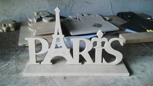 bella palabra parís en mdf de 9mm letras de 7 cms y torre de