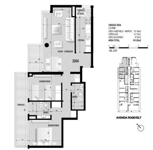 bellagio, a estrenar, 2 dormitorios y 2 baños, piso muy alto.