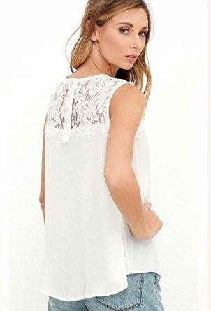 bellas y casual blusa dama,sin manga,chifon y encaje l