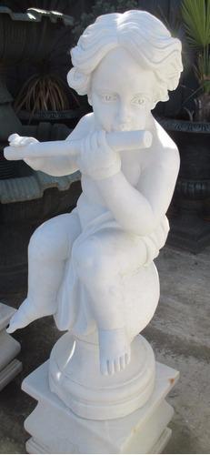 bellisima  escultura mármol - niño flautista