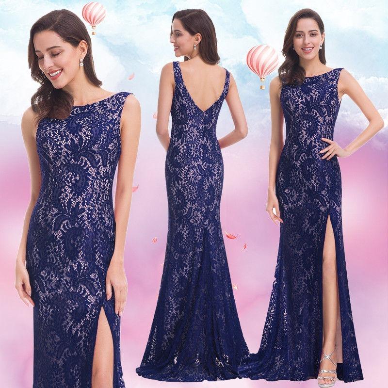 Bellísimo Vestido Fiesta Largo Encaje Azul Importado - $ 3.890,00 en ...