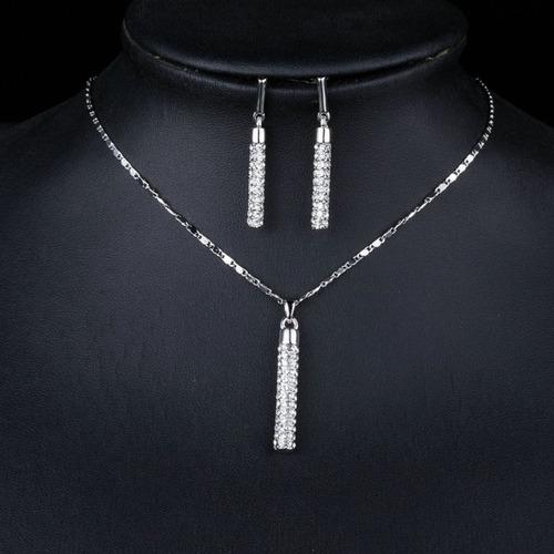 bellisimo y elegante set swarovski collar dije aretes amor