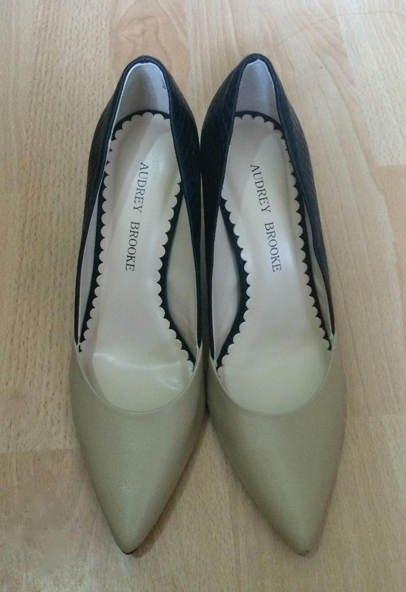 Brooke Bellisimos Bicolor Beige Negro Audrey Zapatos Tacones qxzU7O
