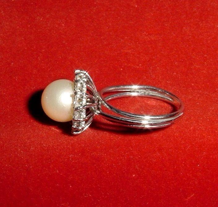 ffa87145b402 Bello Anillo Compromiso Plata 925 Gran Perla Blanca Circones ...