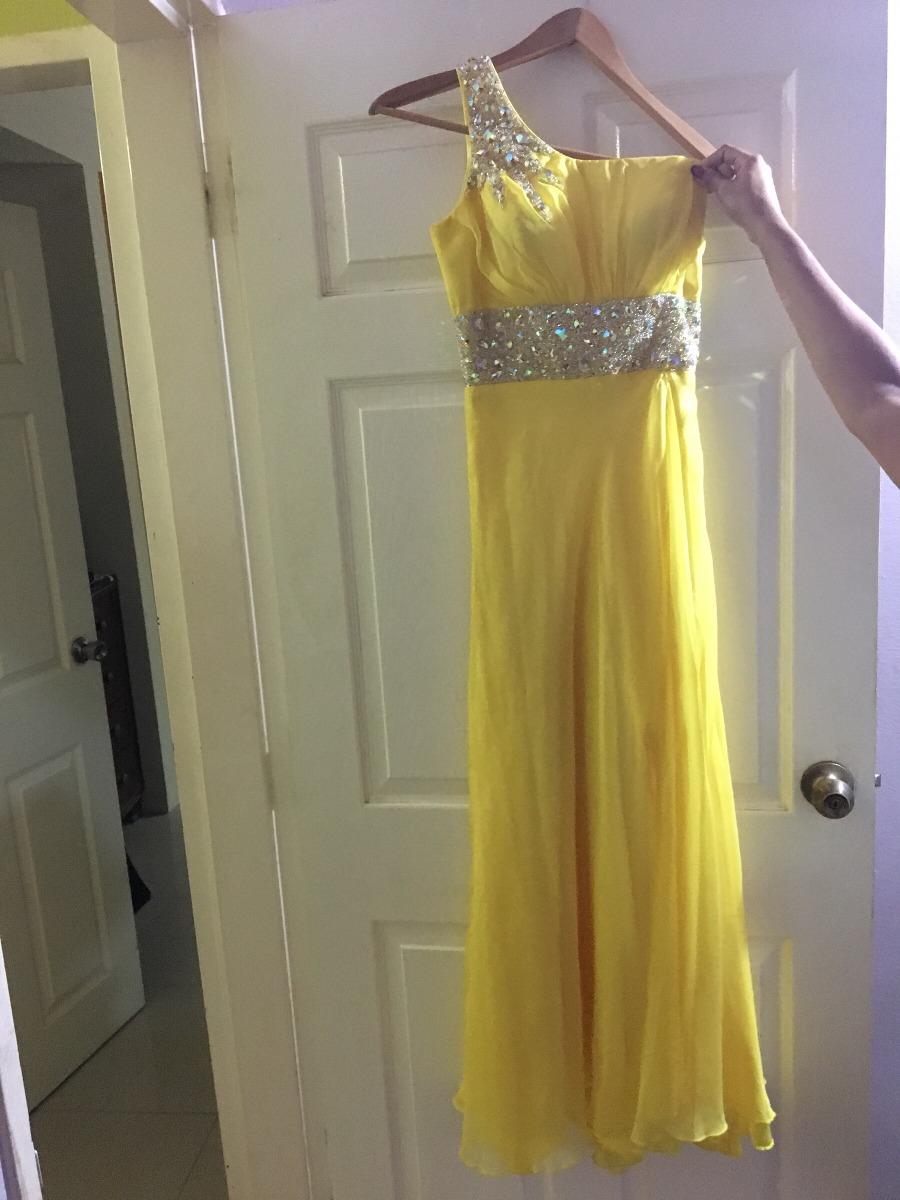 b6172a297 bello vestido amarillo largo de fiesta con hermosa pedreria. Cargando zoom.