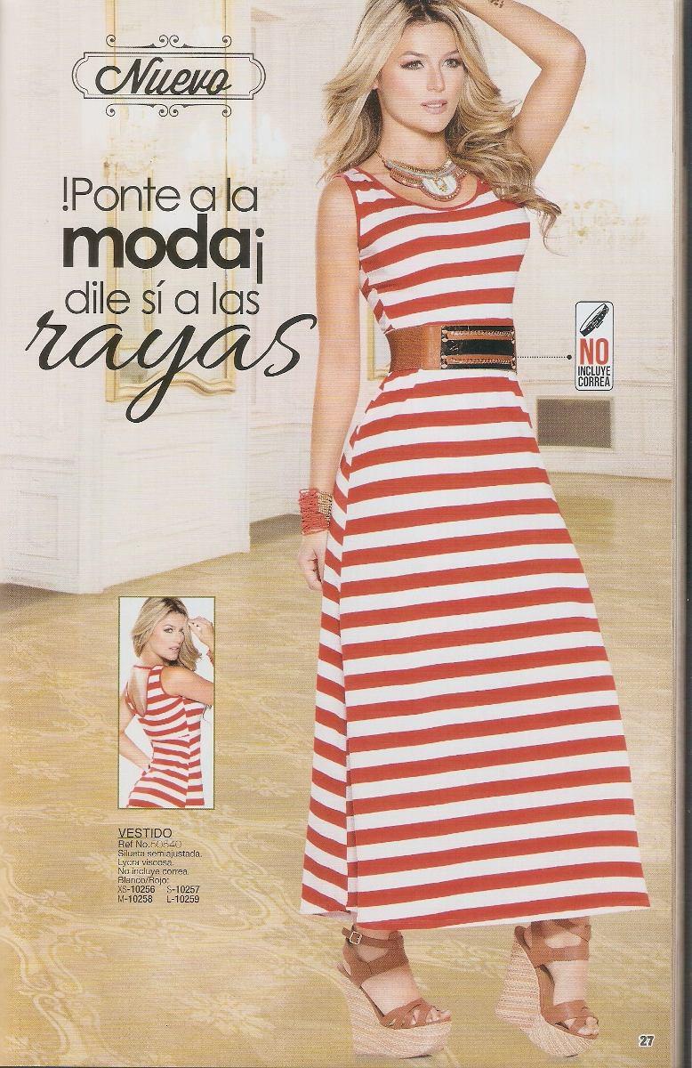 Bello Vestido Largo Rayas Blancas Y Rojas - Bs. 28.000,00 en Mercado ...