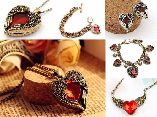 bellos accesorios amor corazón anillos collar pulsera love