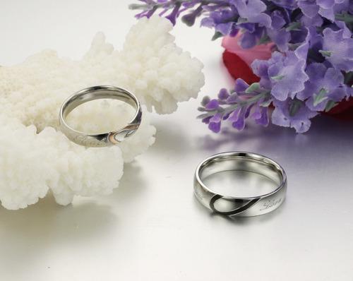 bellos anillos para parejas amor regalo novia corazon acero