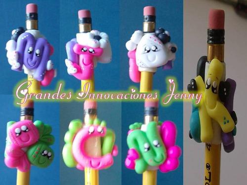 bellos lapices decorados en masa flexible para recuerdos