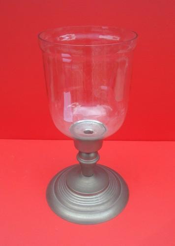 belo castiçal com cupula de vidro grande 42cm altura