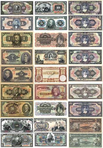 belo lote 35 cédulas de reis república do brasil - réplicas