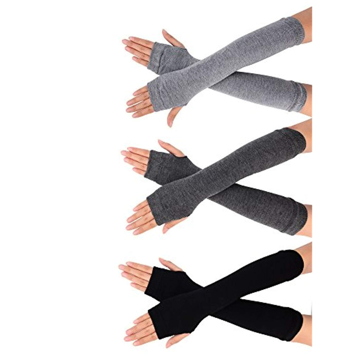 Bememo 3 Pairs Winter Long Fingerless Gloves Knit Elbow Length Gloves Thumb Hole Arm Warmers for Women Girls
