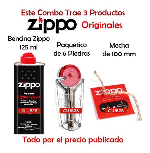 bencina zippo con piedra y mecha zippo  original oferta