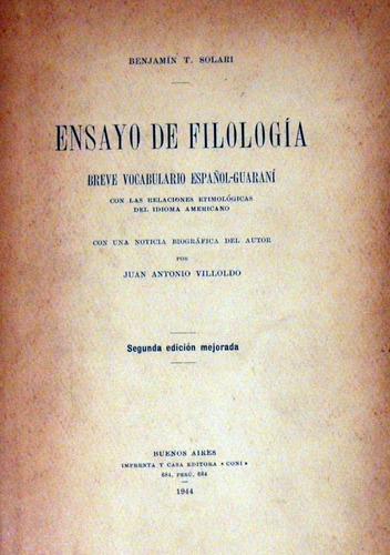 benjamín solari ensayo de filología 1944 no envio