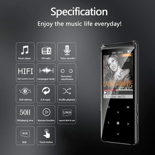 benjie m6 reproductor mp3 16gb hifi walkman fm radio de (sin