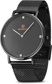 Benroy Negro Reloj Para Hombre Con Diamante De Oro