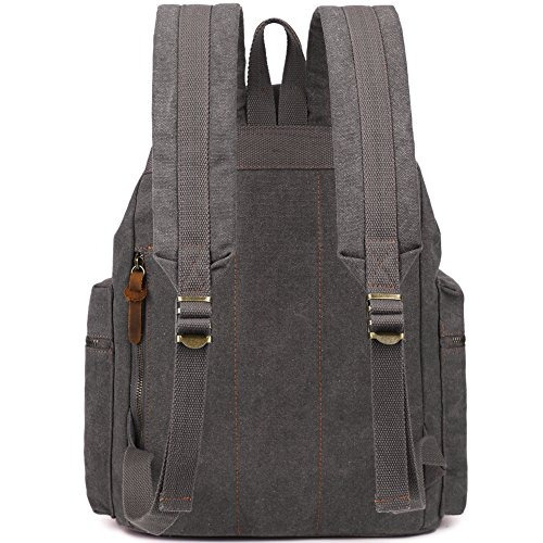 berchirly vintage men casual canvas leather backpack rucksac